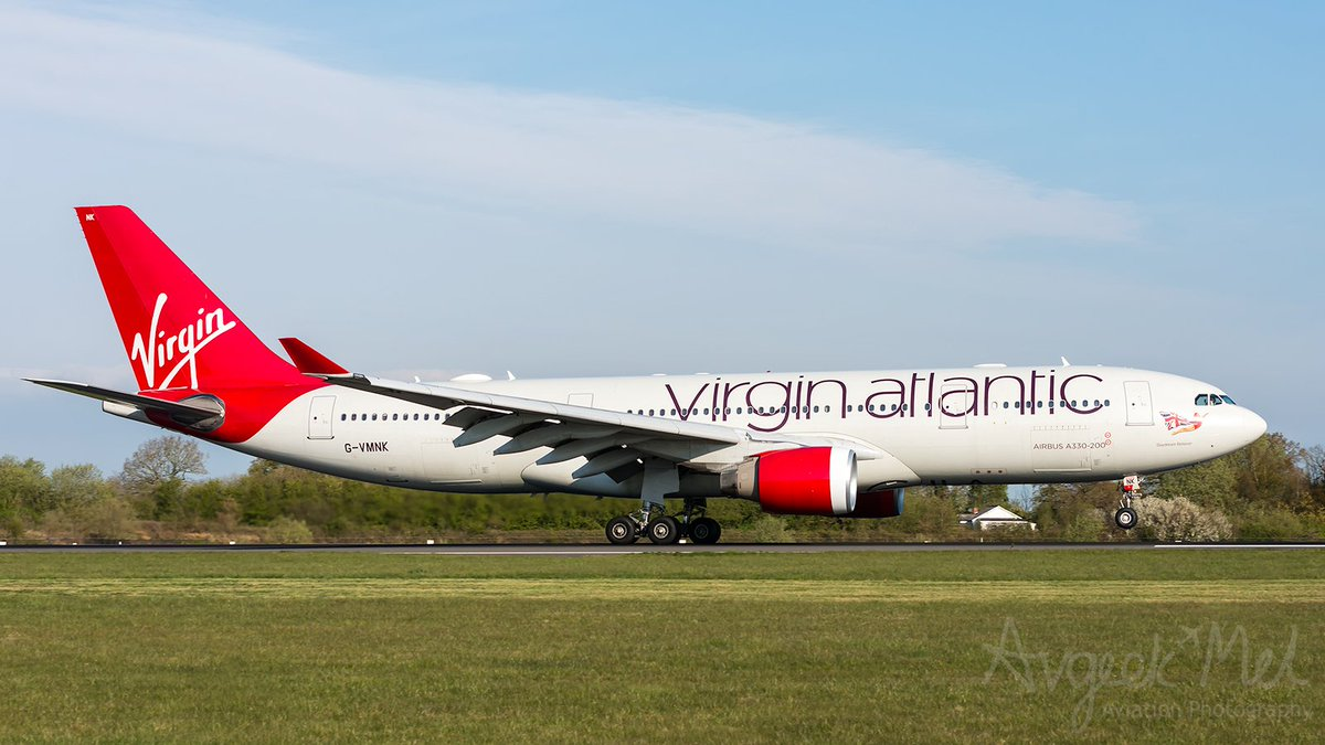 """Early morning arrival on 05R at @manairport for @VirginAtlantic @Airbus A330-223 G-VMNK """"Daydream Believer"""" at @manairport after her overnight flight across the Atlantic #avgeek #aviation #A330 #Airbus @AirbusintheUK #Virginatlantic #livefromvirgin #flymanchester #WeMakeItFly"""