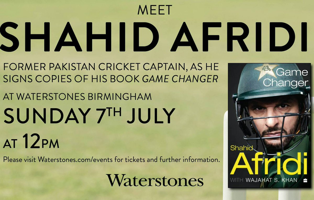 Today's the day - ex-captain of Pakistan's cricket team @SAfridiOfficial is signing Game Changer in our shop from 12:00.