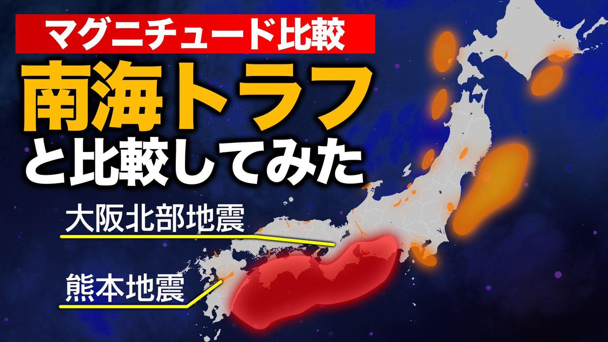 【YouTube最新動画】  【マグニチュード】南海トラフを1とした時の地震の規模比較 https://youtu.be/TzLMCo9MCQo  想定されている南海トラフ巨大地震(M9.1)と日本でこれまでに起きた大地震を比較しました。6月18日に発生した山形県沖地震は南海トラフ巨大地震の1/3981の規模です。#南海トラフ #地震