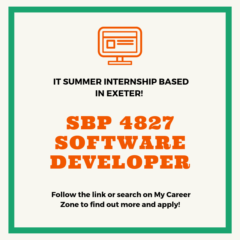 BiG Consultancy are seeking a student to join a development team to code modules for Big Data application as a Software Developer. The role is full-time over the summer - http://ex.ac.uk/bEP