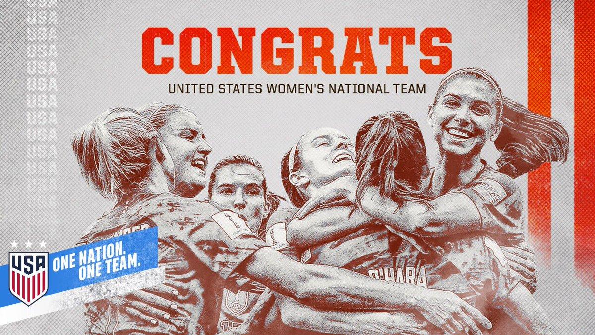 U-S-A! U-S-A! U-S-A! Congrats, @USWNT! 🇺🇸🇺🇸 #OneNationOneTeam