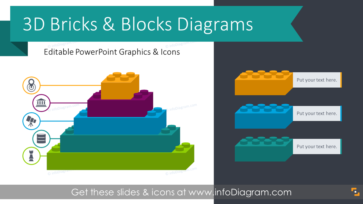 infoDiagram on Twitter: D Bricks Graphics Blocks Diagrams These Lego-like  shapes are a creative metaphor to show business concepts of events series [ 675 x 1200 Pixel ]