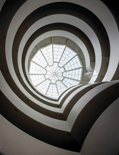 I dag ble åtte bygninger tegnet av den amerikanske arkitekten Frank Lloyd Wright skrevet inn på Unescos verdensarvliste. Foto: David Heald © Solomon R. Guggenheim Museum