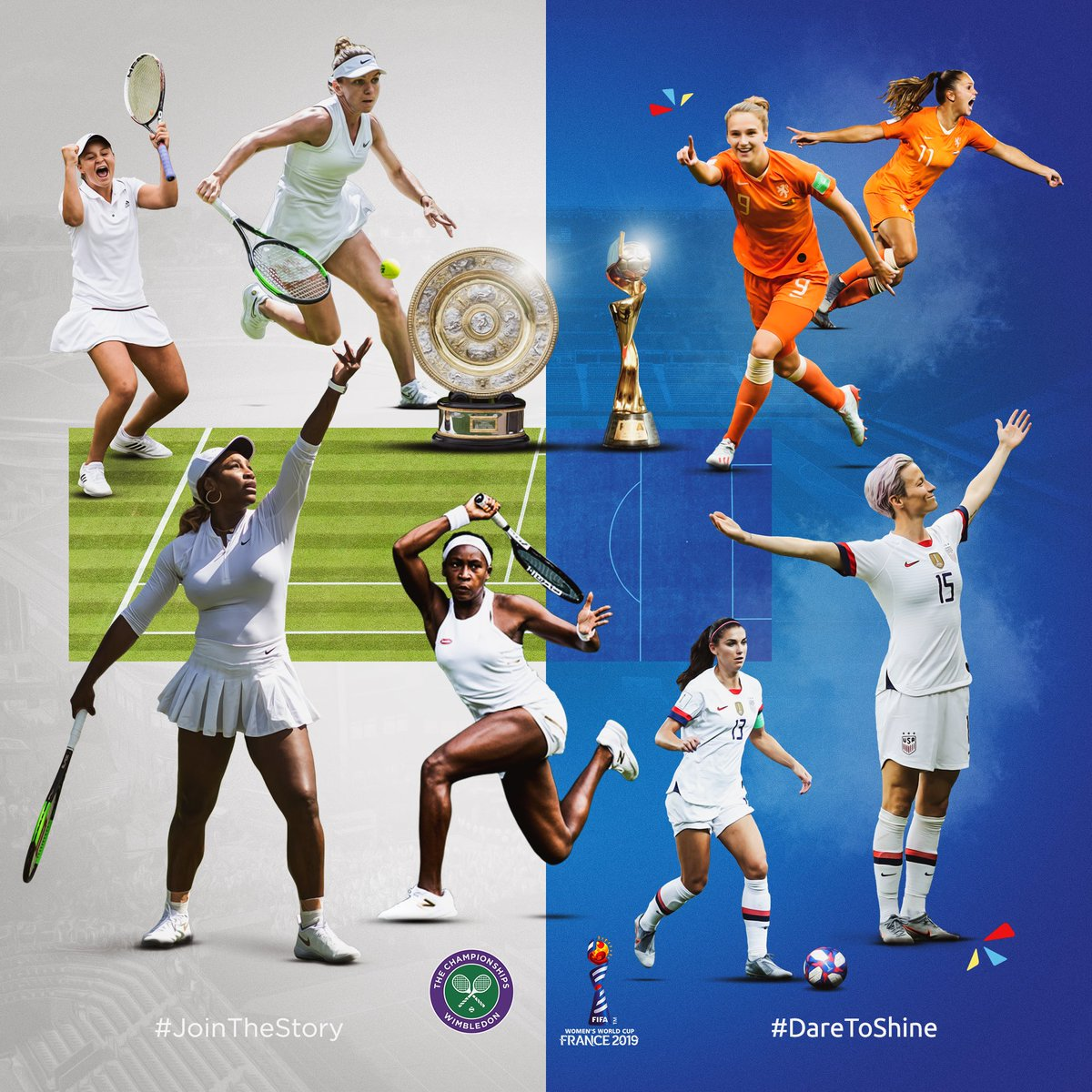 At #Wimbledon and the #FIFAWWC, women are writing stories worth sharing...  #JoinTheStory #DareToShine #LaGrandeFinale<br>http://pic.twitter.com/y4DW76PvQB