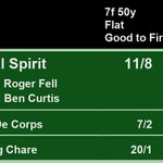 16:40 @AyrRacecourse  1st Global Spirit 11/8 2nd Esprit De Corps 7/2 3rd Pudding Chare 20/1  A Win for @rogerfell22 and @benacurtis  Full Results here: https://t.co/rpHgQgJWZq #HorseRacing #Results