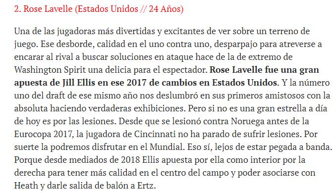 🇺🇸Esto decíamos de Rose Lavelle en el @Sport antes de arrancar el Mundial. Estaba entre las 10 jugadoras que pasaban por debajo del radar. A partir de hoy ya es una estrella Mundial. #FIFAWWC 👀👇🌹
