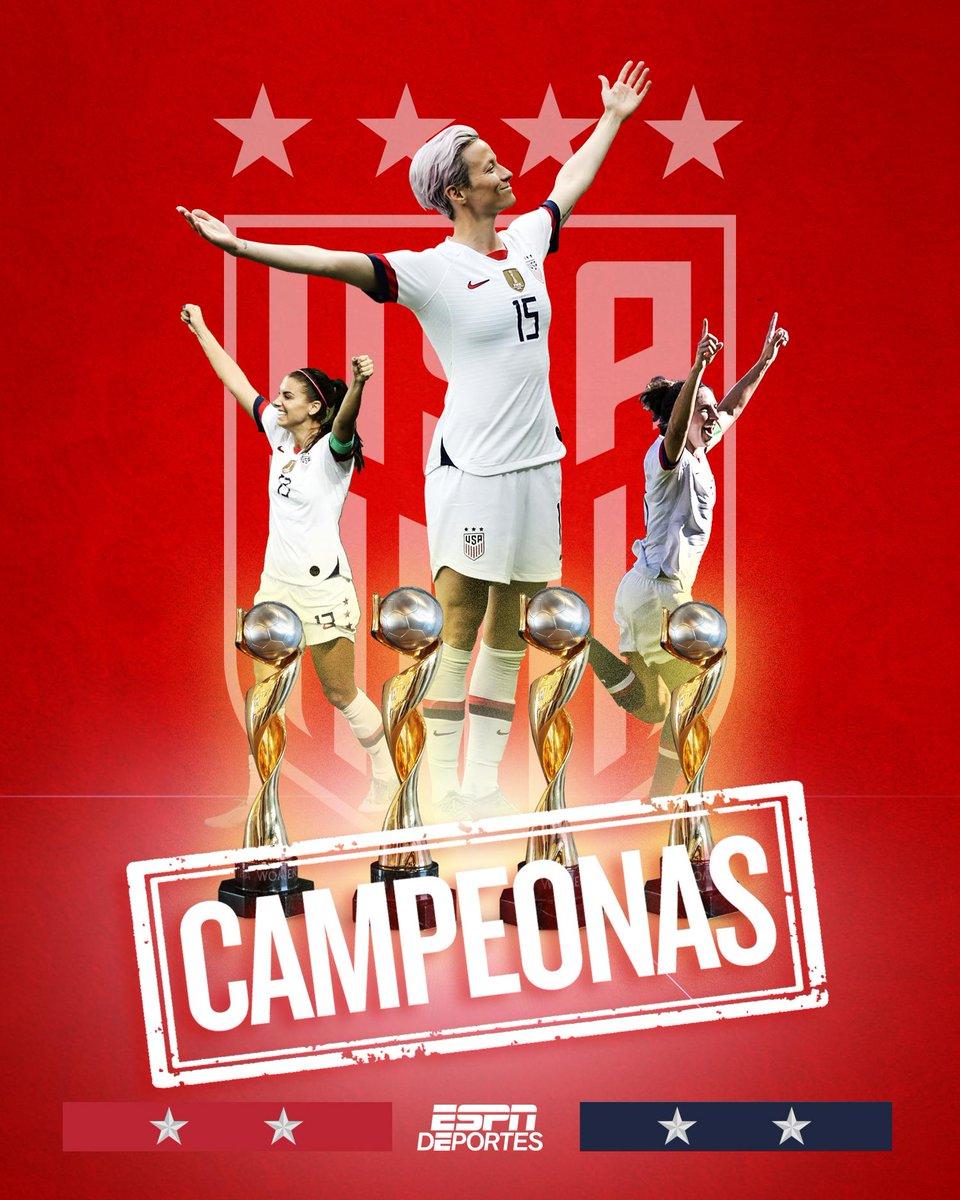 C-A-M-P-E-O-N-A-S 🇺🇸  Con una racha imbatible, las jugadoras de Estados Unidos se coronan campeonas de la Copa Mundial Femenina 🏆  #FIFAWWC #USA https://t.co/dnkDEPeSTM
