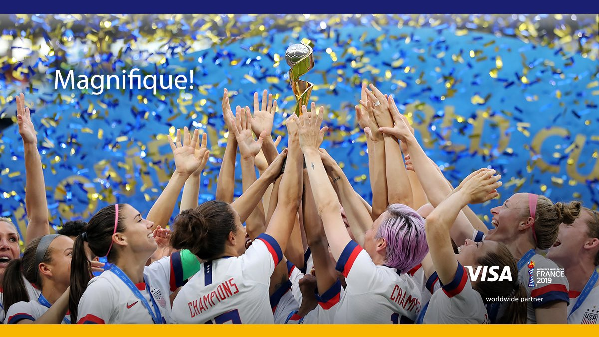 They fought. We believed. Congrats to the @USWNT on capturing their unprecedented 4th FIFA Women's World Cup™️ title. Simply incredible!  Visa. Proud partner of the FIFA Women's World Cup 2019™️.