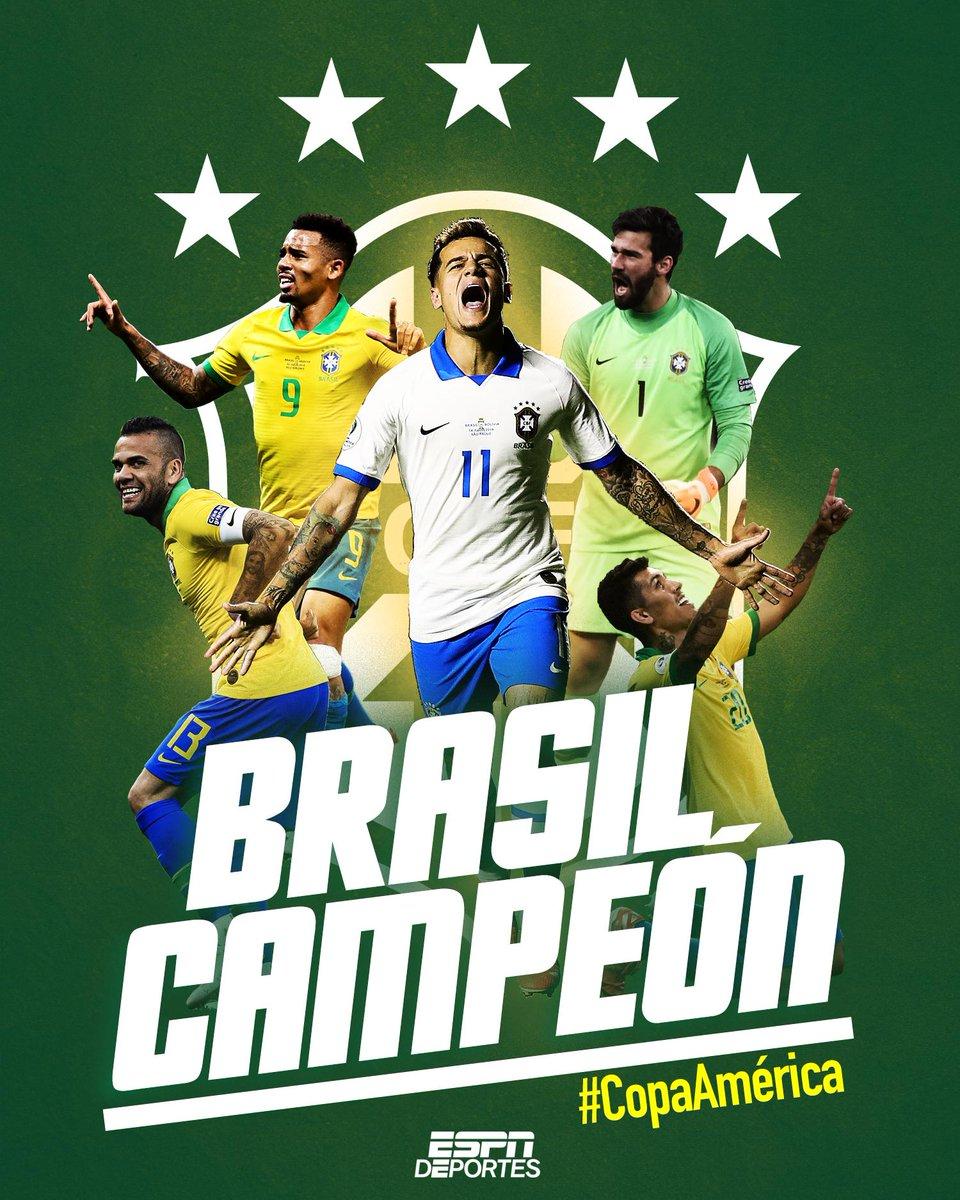 Brasil, campeones de la #CopaAmerica 🏆 https://t.co/HY8hmDizYl