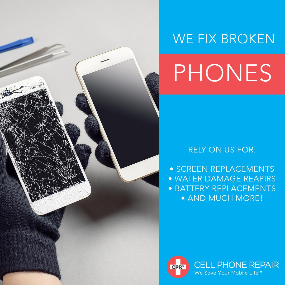 d3efcc184d2b46 From cracked screens to water damage, count on the repair experts at CPR Cell  Phone Repair to save your mobile life! Find a store near you: ...