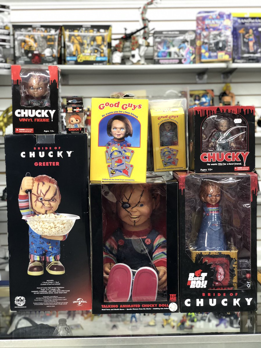 Wanna play?  H&F has your Chucky loot! Stop by today for your horror figs and merchandise! #Horror #PopCulture #Chucky #Movies #HorrorMovie #ActionFigure #Collector #Collect #Collectible #LCS #LocalComicShop #SanAntonio #Texas #SATX #Fan #Follow
