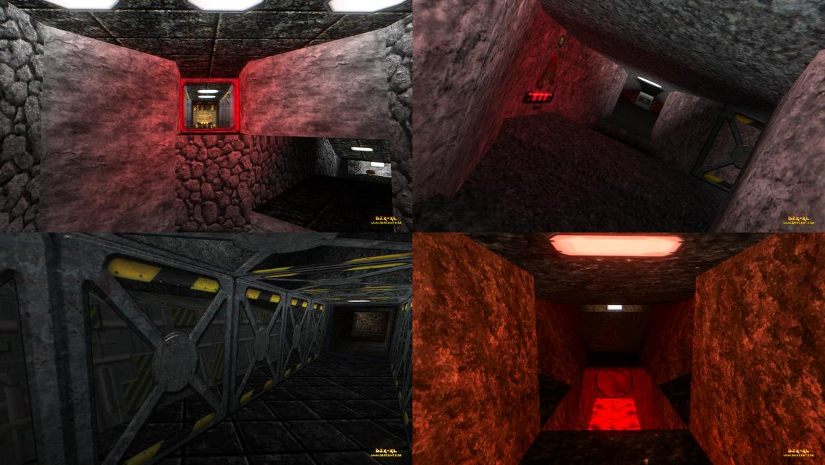 Scenes from some of the levels of the first episode of Pumo Mines.  #Pumosoft #PumoMines #Descent #Videogame https://t.co/PRkzB2UMwX