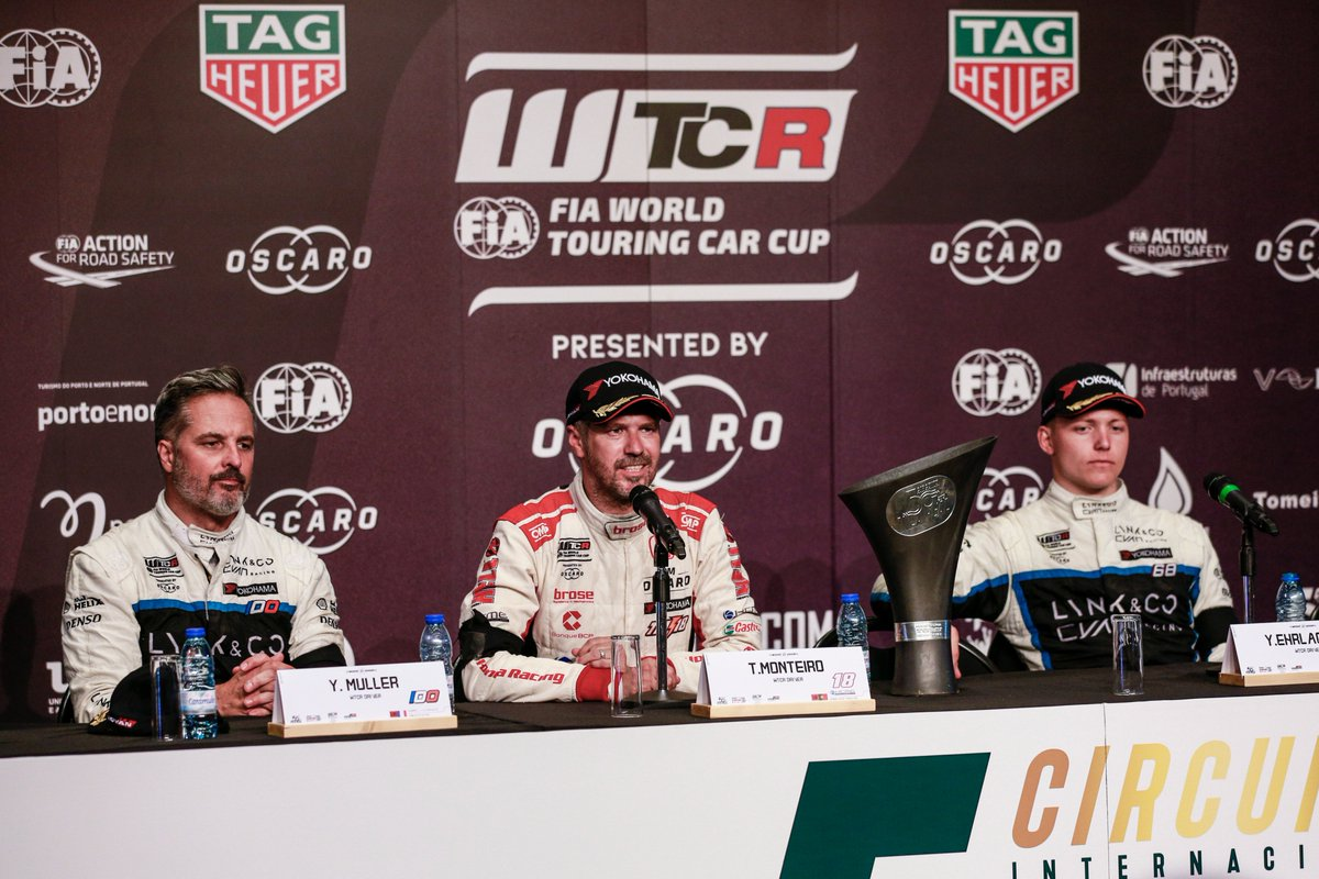 #WTCR - Mikel Azcona, @YannEhrlacher, @Tiagosworld18 & @yvanmuller attended the press conference following Race 3 at WTCR #RaceofPortugal 🇵🇹⬇ fia.com/news/wtcr-wtcr…