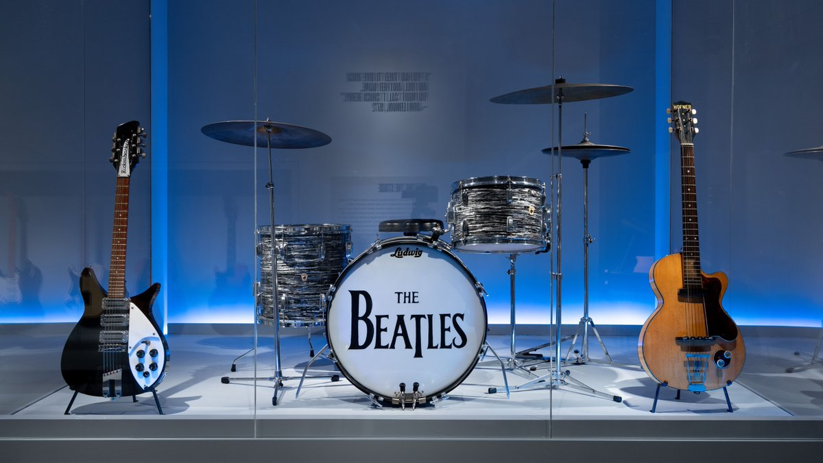 """Happy birthday, Ringo Starr! 🥁See this drum head—the one he used during The Beatles' famed Ed Sullivan Show appearances in February 1964!—on view in """"Play It Loud: Instruments of Rock & Roll"""" through October 1. #MetRockandRoll http://met.org/rockandroll"""