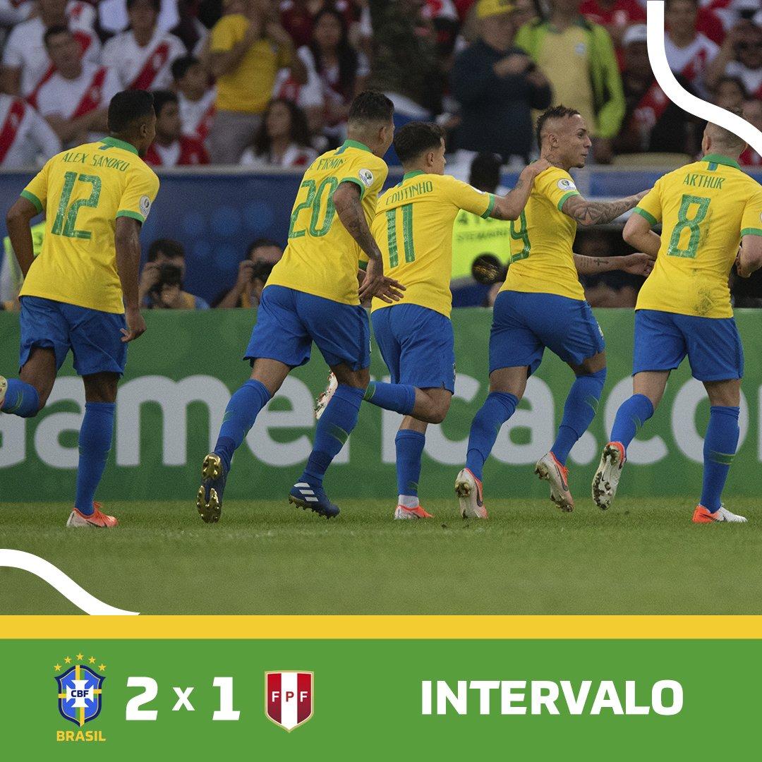 RT @CBF_Futebol: INTERVALO!  🇧🇷 2 x 1 🇵🇪 | #JogaBola #CopaAmérica #BRAxPER  Foto: Pedro Martins / MoWA Press https://t.co/TxVw38nfgl