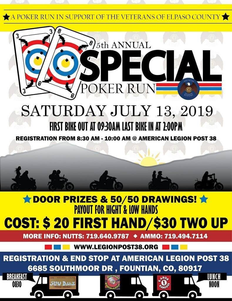 "Annual Newt Heisley Post-38 American Legion Riders ""38-Special"" Poker Run (13 JUL 2019, 0830-Until) Single rider $20, 2-up $30 (first bike out 0930, last bike in 1400)"