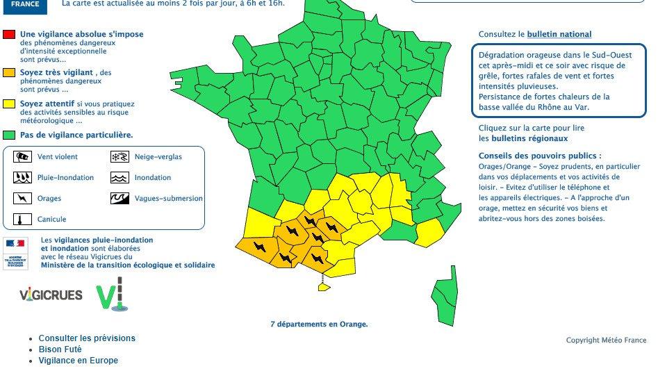 Bfmtv On Twitter Orages 7 Départements Du Sud Ouest En
