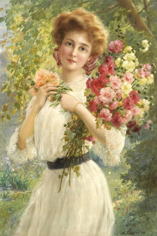 Надписью, старинные картинки девушек с цветами