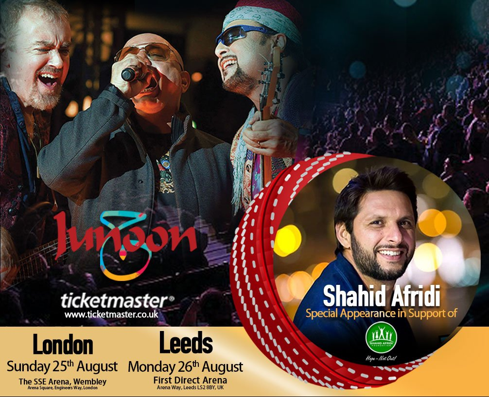 London & Leeds, mark your calendars for the comeback tour of Junoon on August 25th & 26th! The cricket legend & humanitarian @SAfridiOfficial will also be present there in support of #SAF! Join us on this mega event!  Book your tickets now: http://www.ticketmaster.co.uk   #HopeNotOut