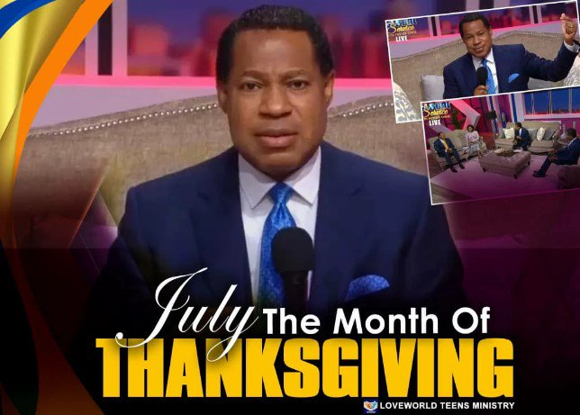 Welcome to July, the Month of Thanksgiving!  #MonthOfThanksgiving #LoveWorld #PastorChrisOyakhilome<br>http://pic.twitter.com/8GfnUyiVTW