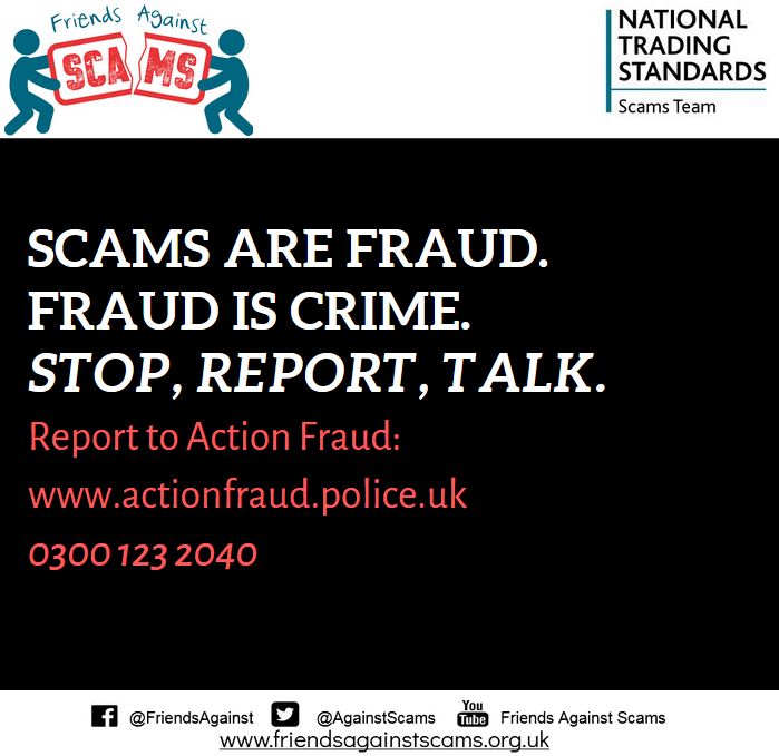 Hertfordshire Trading Standards On Twitter It May Feel Embarrassing To Admit You Have Been Scammed But You Need To Report The Scam To Actionfrauduk And Talk To Others To Make Them Scamaware