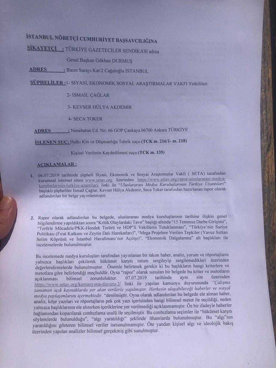 TGS'den SETA hakkında savcılığa suç duyurusu