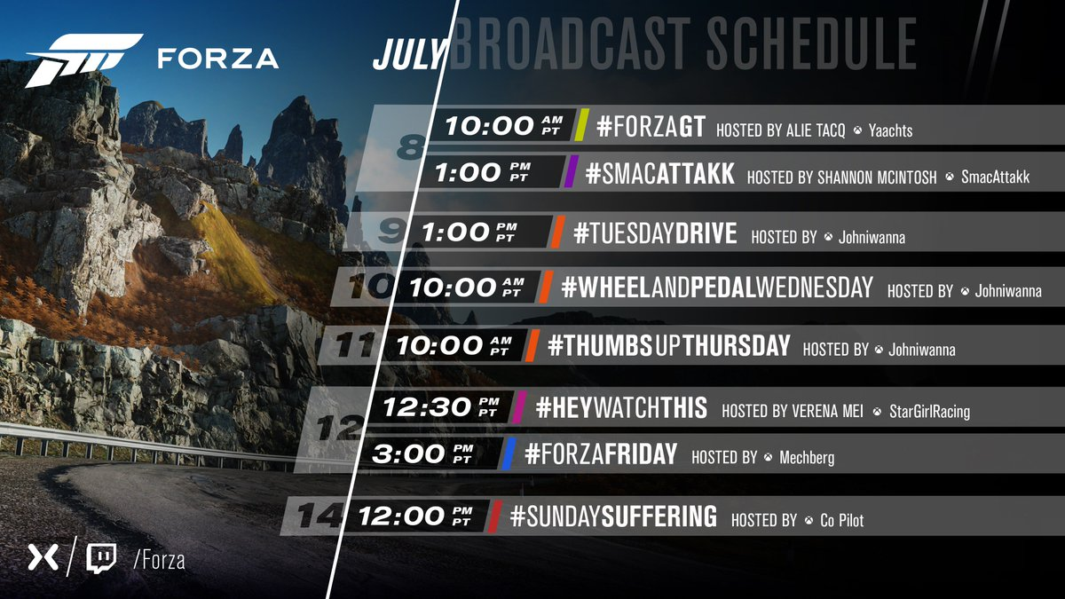 Hey Forza fans, take a look at our streaming calendar for the upcoming week. A little bit of something for everyone there! Things kick off in just under 30mins with #ForzaGT hosted by @AlieTacq. Watch all the shows here - mixer.com/forza