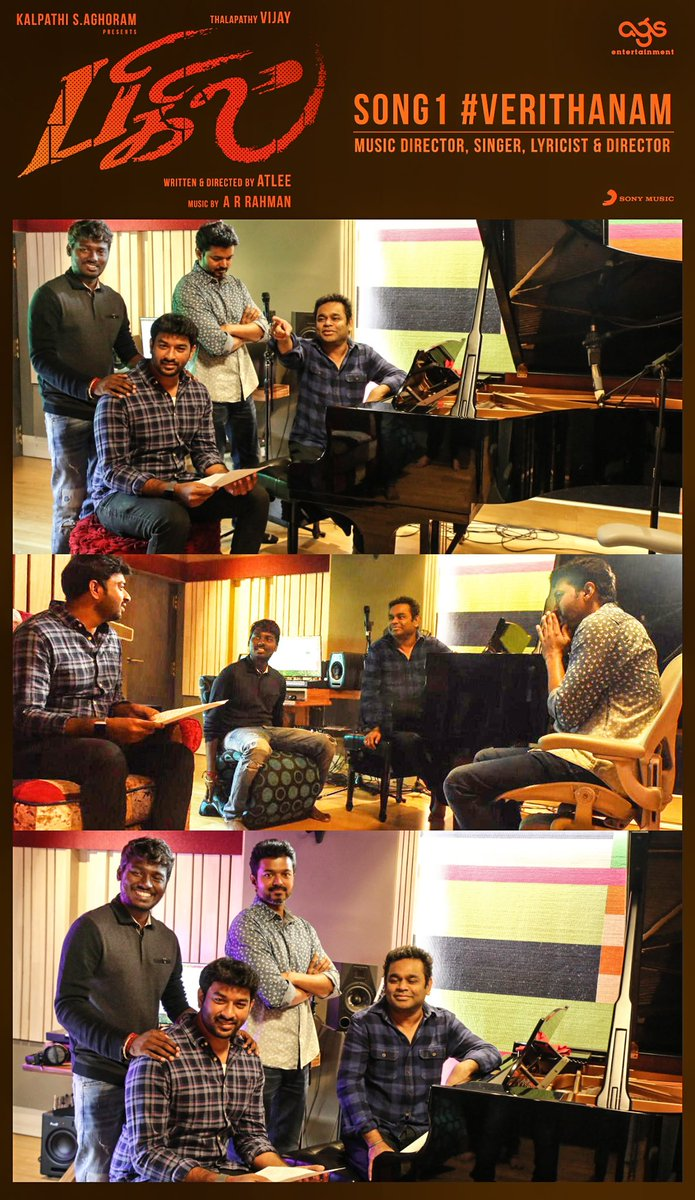 A big thank you to our #Thalapathy from all of us (His fans) for granting our request to sing in this album Trust me the song is #Verithanam Thank you @arrahman Sir, @Atlee_dir @Lyricist_Vivek for making this happen @SonyMusicSouth #Bigil
