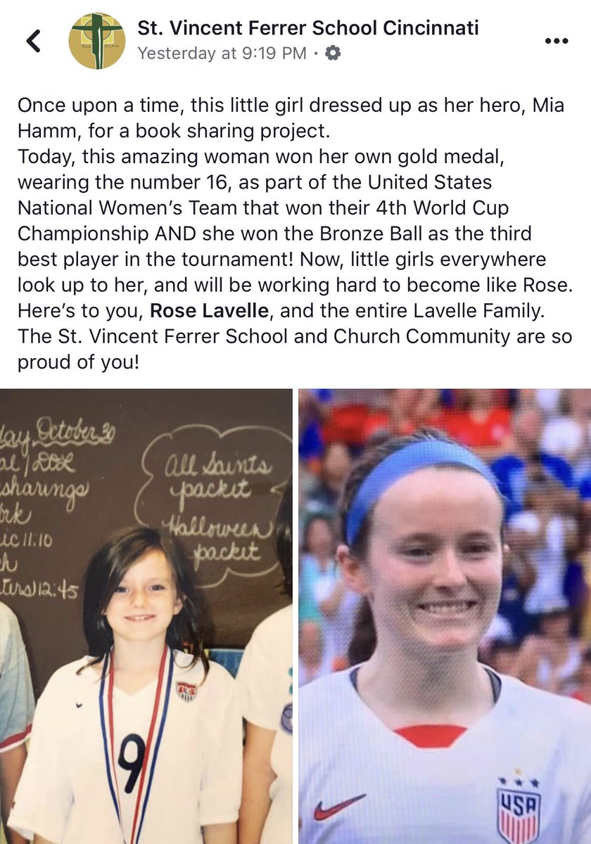 Rose Lavelle's elementary school posted this on Facebook.   So cool to see her empower the next generation of women 👏🏼