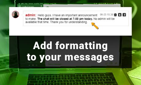 New Beta Feature: Four Special Ways for Text Formatting in your chat room https://buff.ly/2JoIELn  #ed #wpplugin #wordpress #chatroom