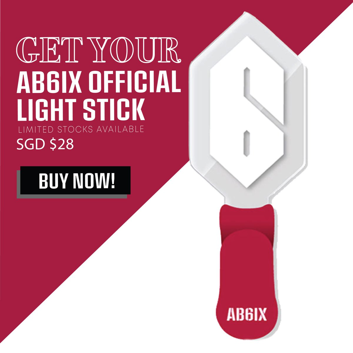 Get your #AB6IX Official Lightstick, and collect it directly at AB6IX 1st Fanmeeting [1ST ABNEW] in Singapore! Order here: bit.ly/AB6IXlightstick Less than 3 weeks till #AB6IXinSG! 😍 🎫: apactix.com/events/detail/…