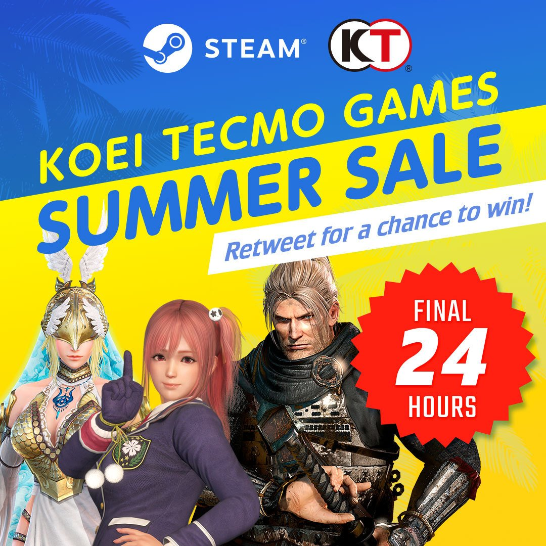 🚨 Giveaway Alert! 🚨 There's 24hrs(ish) left in our Steam Summer Sale! Win a code for any game on sale!   How to enter: RT This Post Follow Us Hashtag the game you want in reply (must be on sale)  x3 winners picked tomorrow 4pm BST – EMEA only. #KTFamily