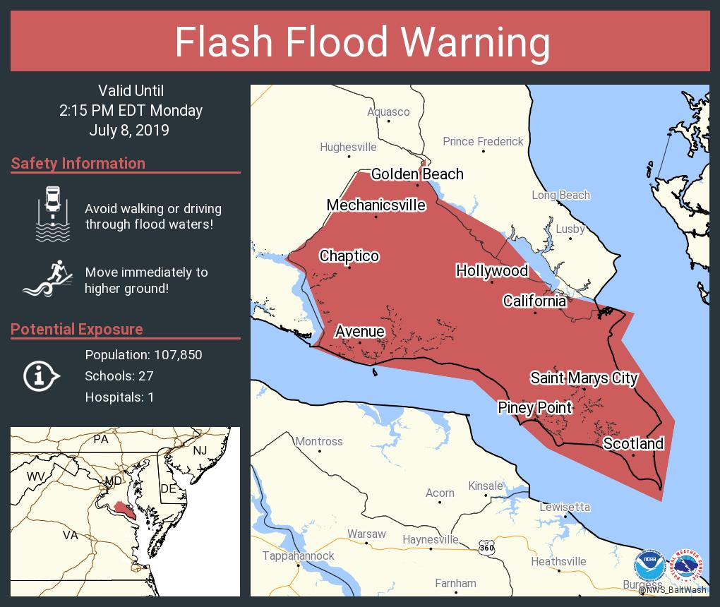 Map Of California Md.Nws Dc Baltimore On Twitter Flash Flood Warning Including