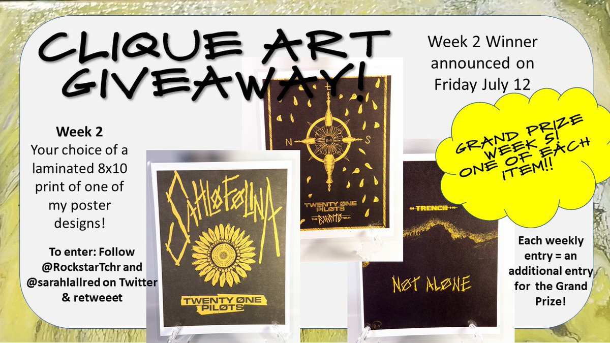 Poster GIVEAWAY!!  The #banditotour end #cliqueart giveaway Week 2. To enter : follow me, like and RT this post with a positive comment! International!!  Good luck frens ||-//  #CliqueMom #twentyonepilots