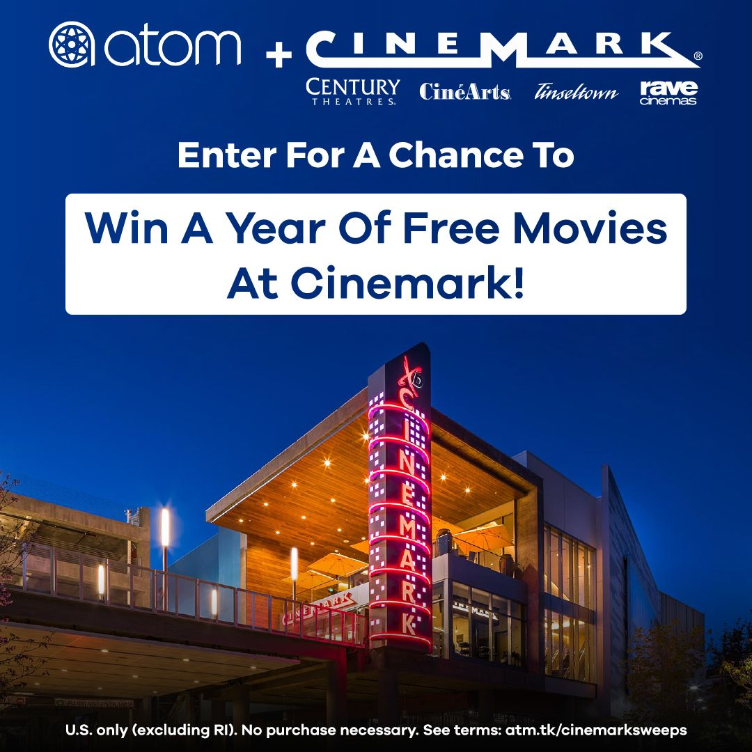 To celebrate Cinemark joining the #AtomTickets network, we're giving away FREE MOVIES for a YEAR at #CinemarkTheatres to one lucky fan! To enter for your chance to win, follow @AtomTickets and @Cinemark and RT.🍿  US only (excluding RI). See terms: http://atm.tk/cinemarksweeps