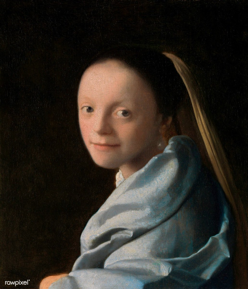 Study of a Young Woman (ca.1665–1667) by Johannes Vermeer. Original from The MET Museum. Digitally enhanced by rawpixel. Download this image: http://rawpixel.com/board/1015466/johannes-vermeer…