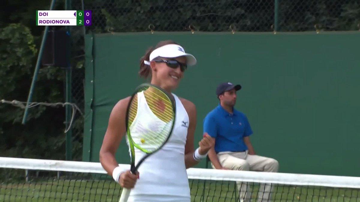 """The performance of the day!""Arina Rodionova shocks No.4 seed Misaki Doi, 6-4, 6-2 to move one step closer to the #Wimbledon main draw"