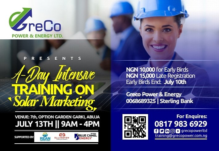 Greco Power and energy ltd  @grecopowerltd presents A day intensive training on Solar Marketing.  Venue: 7th option garden garki, Abuja Date: July 13th Time:9am to 4pm  See e-flyer for more information.  #solar #solarexperts #sustainable #marketing #cleanenergy #education #grecopic.twitter.com/JW8HtCMrzy