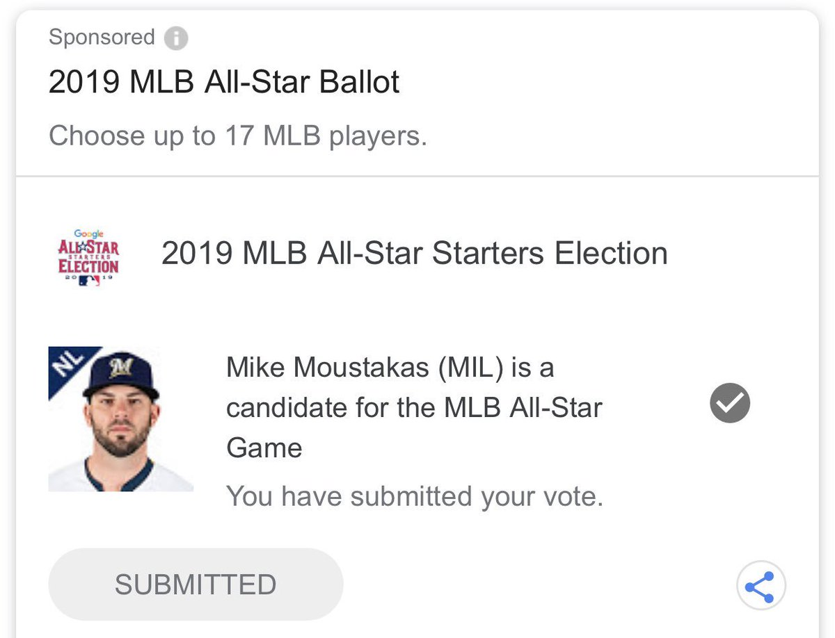 @Brewers @ChristianYelich @Mooose_8 don't forget to get those votes in too on google for my guys #YESTOYELI #CHOOSEMOOSE brewers.com/vote