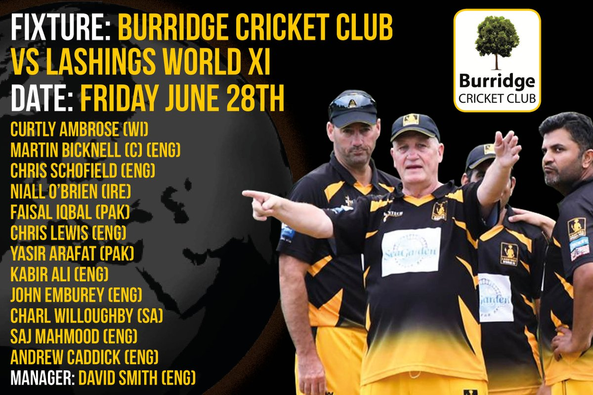 The team news for Fridays showdown with @burridgecricket is in @niallnobiobrien @bickers1969 @ambrose_curtly @FaisalIqbalCric @Imkabirali lashings-worldxi.co.uk/news