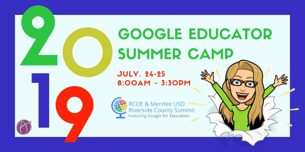 Join @alicekeeler on July 24th - 25th as she presents at the #ieGoogleCamp hosted by @RCOE. For more information visit http://tinyurl.com/googlecamp2019 . ^EM @dennislarge #googleEDU