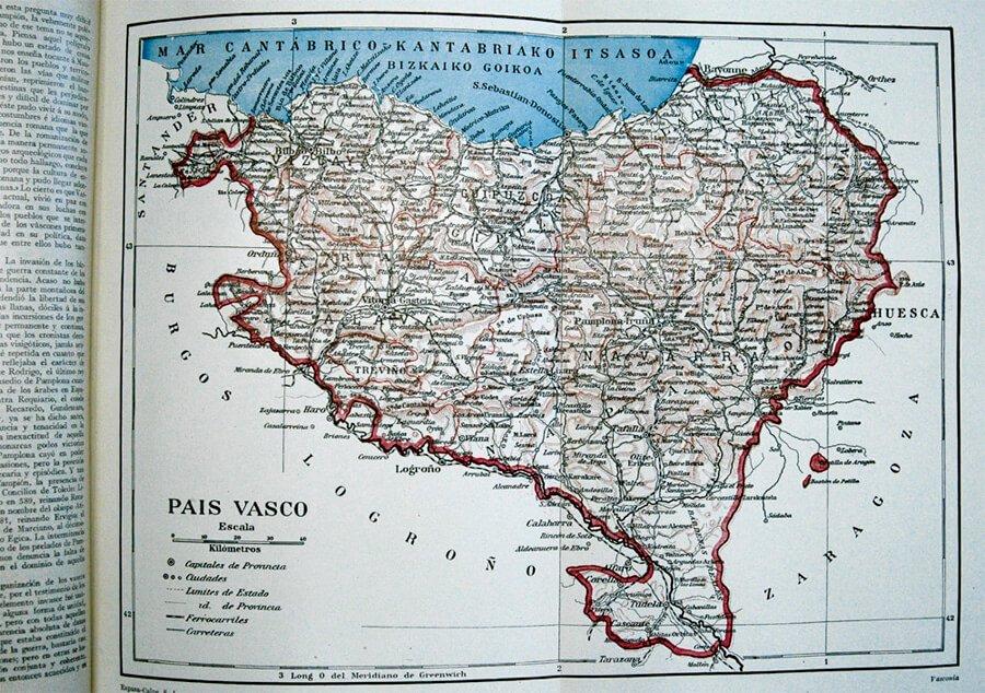 Mapa Pais Vasco Pueblos.Pais Vasco Mapa De Las Siete Provincias Vascas Con