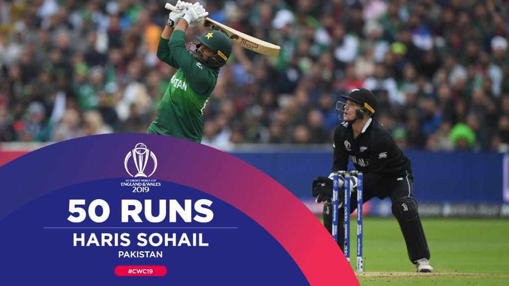 50 for Haris Sohail!His second in a row and it's likely to lead Pakistan to another win!#CWC19 | #NZvPAK