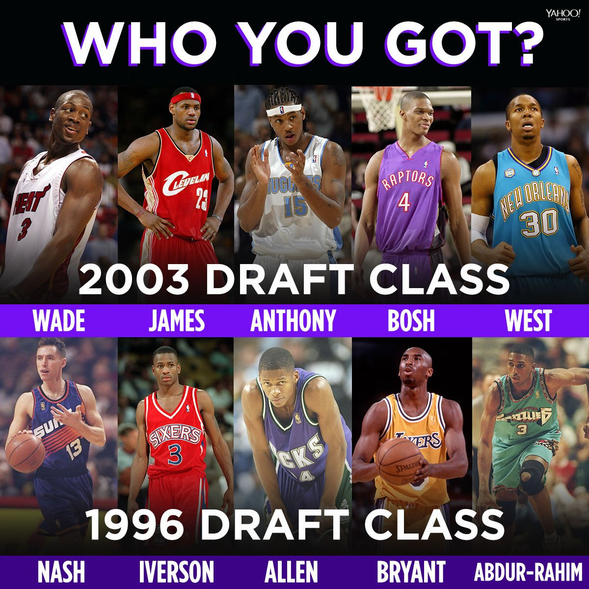 16 years ago today, the iconic 2003 class was drafted.  But could they have beat the class of '96? 🤔