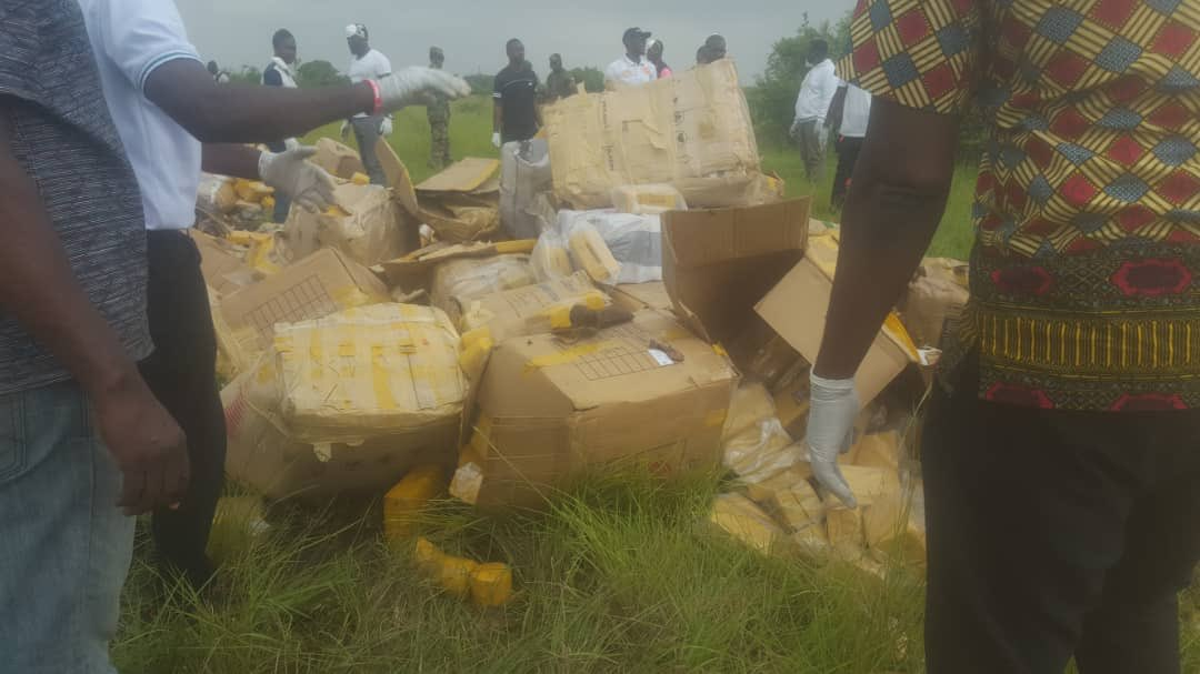 The Narcotics Control Board (NACOB) on Wednesday destroyed a total of 8 tonnes of cannabis and kart products worth one-million Cedis intercepted by the agency at the Bundase Military Training Camp in Accra.  #GhanaCrimes