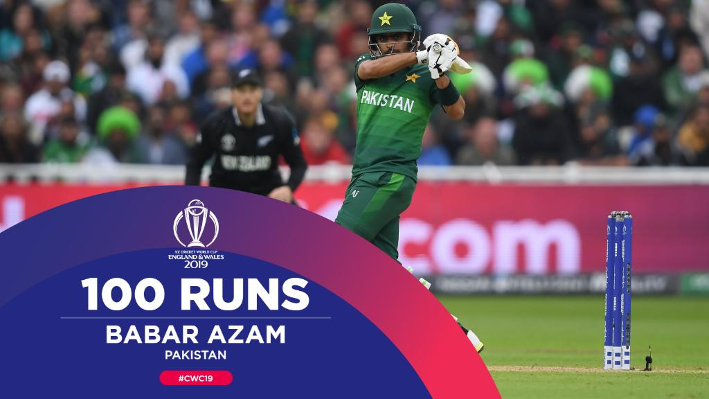 Century for Babar Azam, his first of #CWC19 👏👏 A wonderfully mature innings that's taken his side to the cusp of victory.#NZvPAK