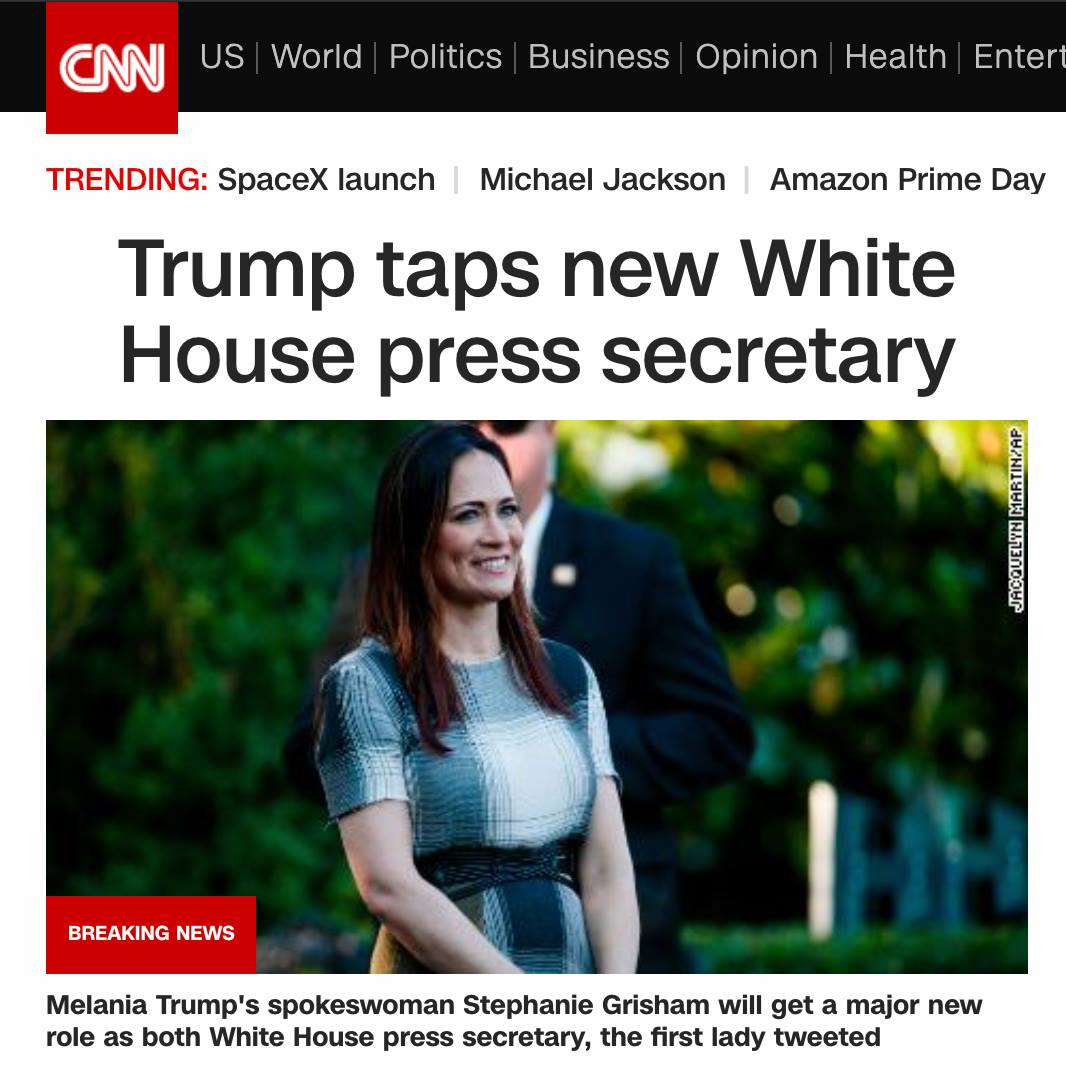From the World of Unfortunate Headlines comes this. Do you think she's his type? @BetteMidler, you can have a field day! @cnnbrk @cnnbrk please hire me as your #editor. I am on the job market! #headlinenews #fauxpas #WHPressSecretary #PressSecretary