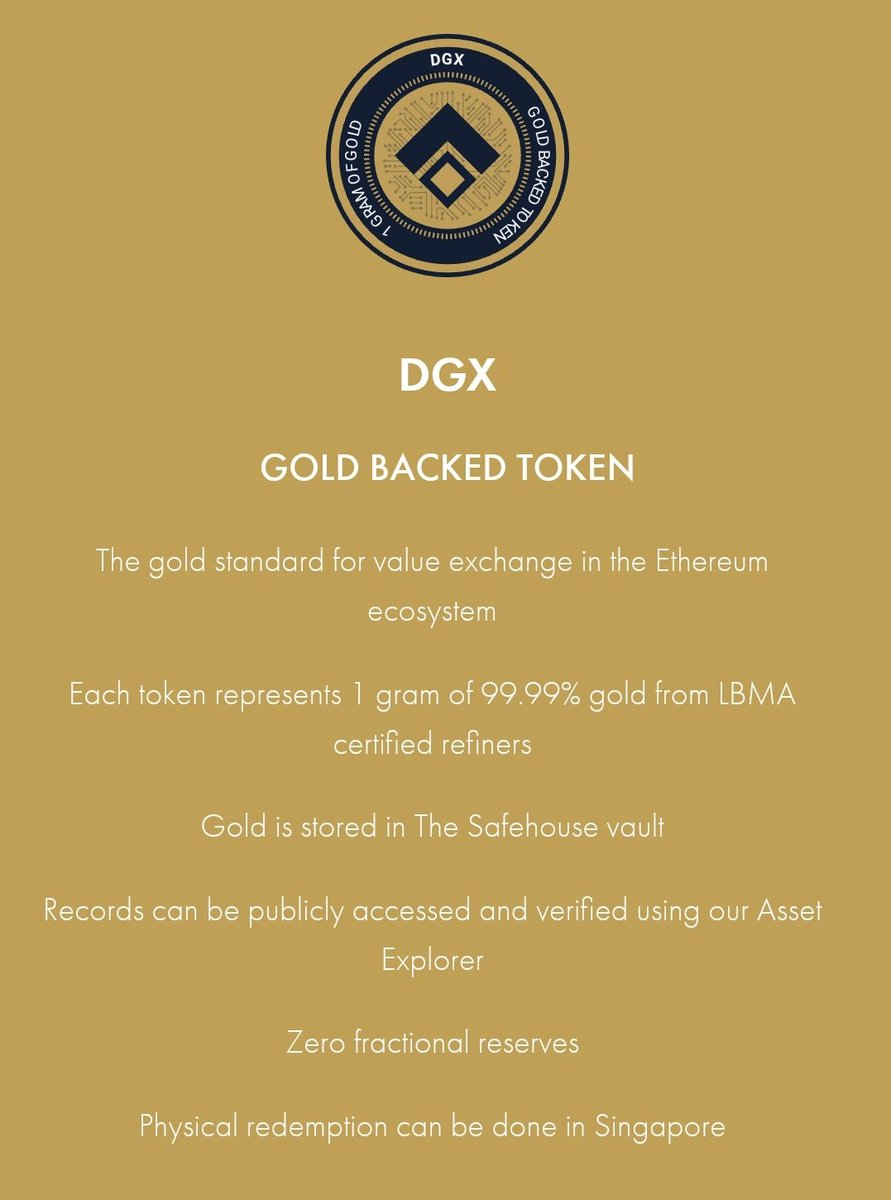 #Gold backed token $DGX is safe and available in Zimbabwe ... #trustless and without #KYC @KyberSwap @UniswapExchange 🕶️  #Digix #DigitalGold #preciousmetals #tokenization #ethereum