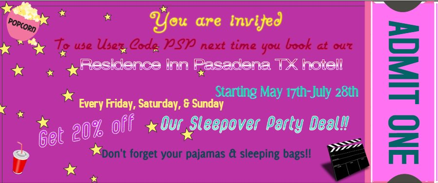 Take advantage of our awesome #SleepoverDeal at the #ResidenceInn #PasadenaTX! Book with the User Code PSP now for 20% off #roomrates on #Fridays, #Saturdays & #Sundays only starting May 17th to July 28th! Enjoy your next #sleepoverparty while staying with us!
