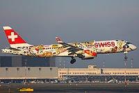 """Mañana si no hay cambios el vuelo de ZRH de Swiss en @infoSCQ será operado por el A220 HB-JCA con la """"Fetes des Vignerons"""" livery. @braisamg1"""